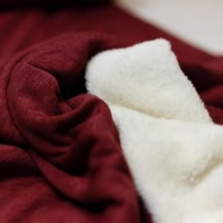 Sélection Coup de coudre - Tissu Sweat Uni Couleur Bordeaux Double Face Fausse Fourrure
