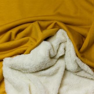 Sélection Coup de coudre - Tissu Sweat Uni Couleur Ocre Double Face Fausse Fourrure
