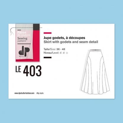 DP Studio – Patron Femme Le 403 Jupe Godets à Découpes du 36 au 48