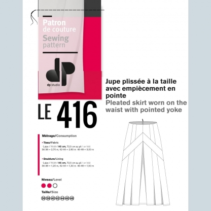 DP Studio – Patron Femme Le 416 Jupe Plissée à la Taille Avec Empiècement en Pointe du 36 au 48