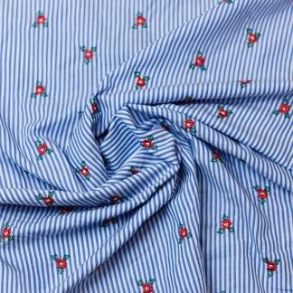 Sélection Coup de coudre - Tissu Batiste de Coton Mélangé Rebrodé Petits Fleurs sur le Fond à Rayures