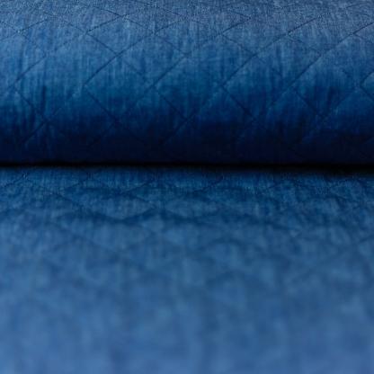 Sélection Coup de coudre - Tissu Denim de Coton Matelassé Double Face Uni Couleur Bleu Indigo