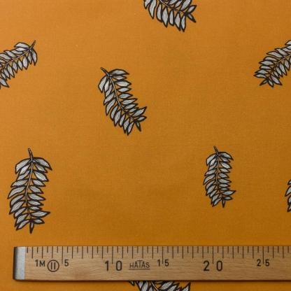 Sélection Coup de coudre - Tissu Satin de Coton Imprimé Feuilles sur le Fond Caramel
