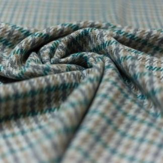 Sélection Coup de coudre - Tissu Tweed de Lainage à Carreaux Verts sur le Fond Beige