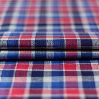 Sélection Coup de coudre - Tissu Vichy de Coton Lin à Carreaux Rouge et Bleu sur le Fond Blanc