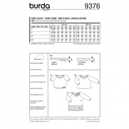 Burda Style – Patron Enfant T-shirt et Robe n°9376 du 86 au 116