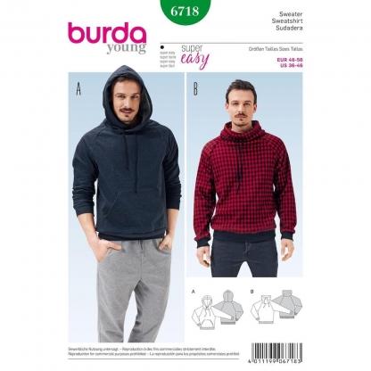 Burda Style – Patron Homme Sweatshirt n°6718 du 46 au 56