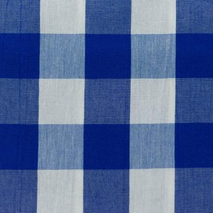 Fibre Mood - Tissu Vichy de Coton et Viscose à Gros Carreaux Bleu sur le Fond Blanc