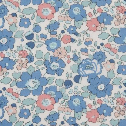 Liberty London - Tissu Betsy Tana Lawn Coton Bleu et Rose