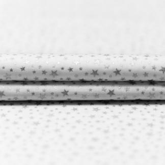 """Poppy - Tissu Popeline de Coton Imprimé Étoiles Scintillantes Argentes """"Little Star"""" sur le Fond Blanc"""