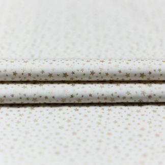 """Poppy - Tissu Popeline de Coton Imprimé Étoiles Scintillantes Dorés """"Little Star"""" sur le Fond Blanc"""