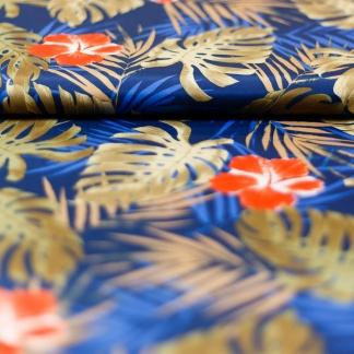Sélection Coup de coudre - Tissu Déperlant Imprimé Fleurs Exotiques sur le Fond Bleu Roi