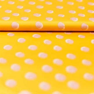 Sélection Coup de coudre - Tissu Déperlant Imprimé Pois Roses sur le Fond Jaune