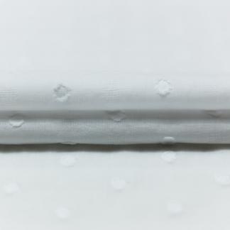 """Sélection Coup de coudre - Tissu Popeline de Coton Texturé """"Dobby"""" à Motif Pois et Carreaux Couleur Blanc"""