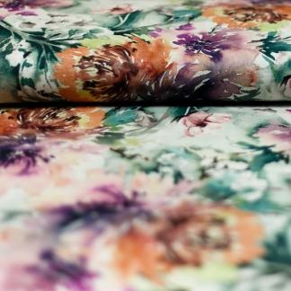Sélection Coup de coudre - Tissu Toile de Coton Imprimé Digital Feuilles en Aquarelle sur le Fond Blanc