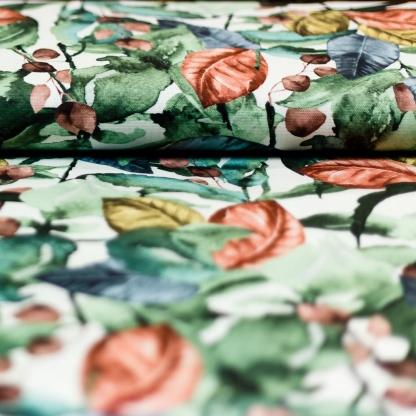 Sélection Coup de coudre - Tissu Toile de Coton Imprimé Digital Feuilles en Vert, Jaune et Marron sur le Fond Blanc