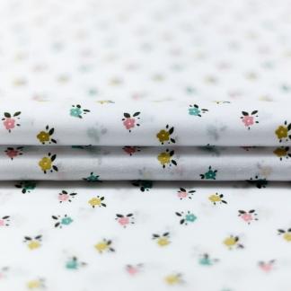 Sélection Coup de coudre - Tissu Voile de Coton Imprimé Petits Fleurs sur le Fond Blanc