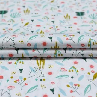 """Poppy - Tissu Popeline de Coton Imprimé Colombes """"Sweet Little Bird"""" sur le Fond Blanc"""