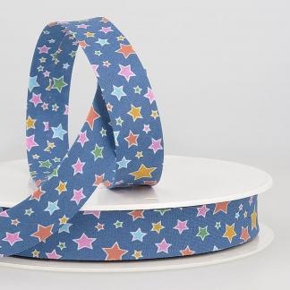 Sélection Coup de coudre - Biais en Coton Imprimé Étoiles Multicolores sur le Fond Bleu (20 mm)