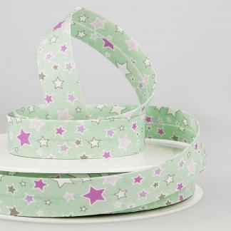 Sélection Coup de coudre - Biais en Coton Imprimé Étoiles Multicolores sur le Fond Vert Clair (20 mm)