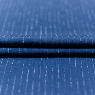 Sélection Coup de coudre - Tissu Crépon de Viscose à Rayures Lurex Argent sur le Fond Bleu Indigo