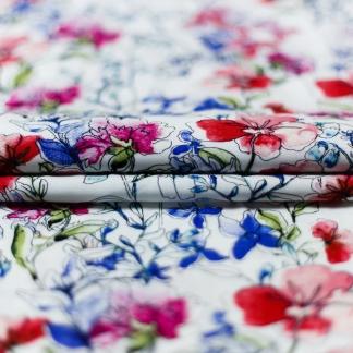 Sélection Coup de coudre - Tissu Popeline de Viscose Imprimé Fleurs Aquarelle sur le Fond Blanc