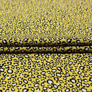 Sélection Coup de coudre - Tissu Popeline de Viscose Imprimé Leopard sur le Fond Jaune
