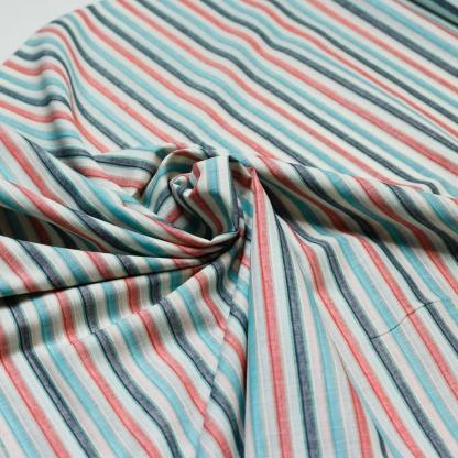Sélection Coup de coudre - Tissu Voile de Coton à Rayures Multicolores sur le Fond Blanc Cassé