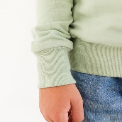 See You at Six - Tissu Jersey Bord-Cotes Uni Couleur Aqua Gris