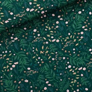 See You at Six - Tissu Sergé Gabardine de Coton Imprimé Fleurs « Flower Garden » sur le Fond Vert De L'épinette Très Foncé