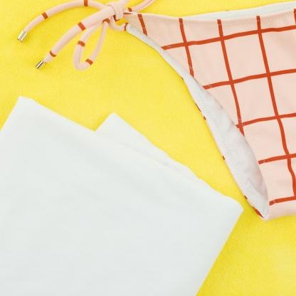 See You at Six - Tissu Doublure de Maillot de Bain Uni Couleur Blanc