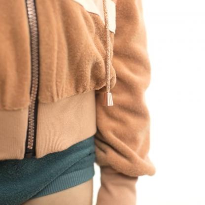 See You at Six - Tissu Jersey Bord-Cotes Uni Couleur Brun Chameau