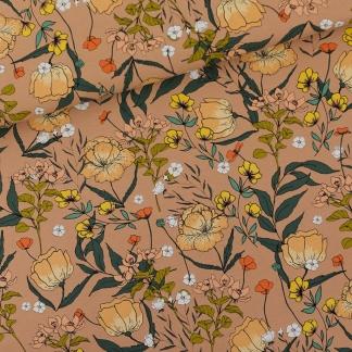 See You at Six - Tissu Jersey Sweat Léger de Coton Imprimé Fleurs « Summer Flowers » sur le Fond Brun Chameau