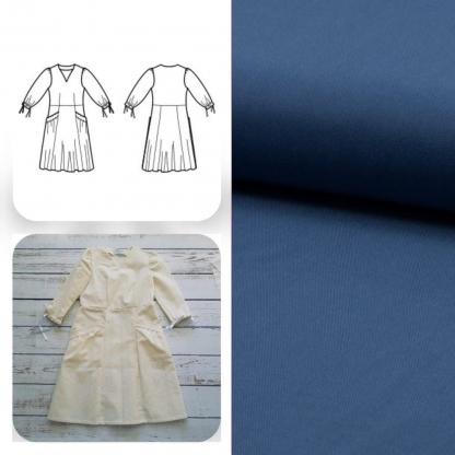 Christine Charles – Kit Couture Robe Eleanora Uni Couleur Bleu Denim