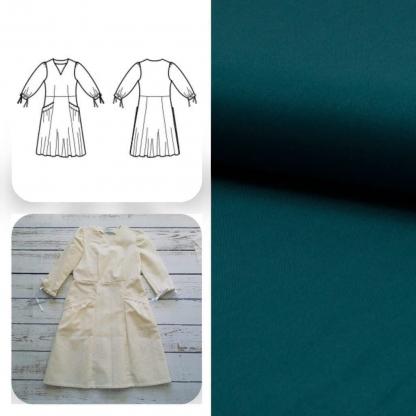 Christine Charles – Kit Couture Robe Eleanora Uni Couleur Vert Canard