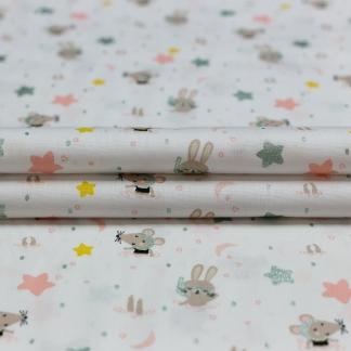 """Poppy - Tissu Popeline de Coton Imprimé Petits Lapins et Souris """"Swimming Animals"""" sur le Fond Blanc"""