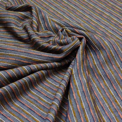 Sélection Coup de coudre - Tissu Jacquard de Coton Mélangé aux Rayures Multi-couleurs sur le Fond Bleu