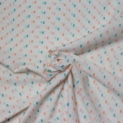 Sélection Coup de coudre - Tissu Voile de Coton Plumetis aux Points Multicolores sur le Fond Blanc