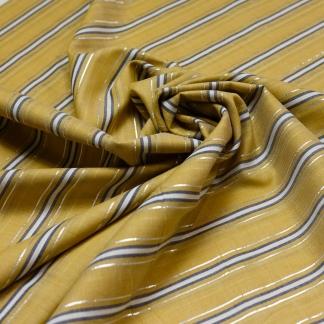 Sélection Coup de coudre - Tissu Voile de Coton à Rayures Lurex Argentés sur le Fond Jaune Moutarde