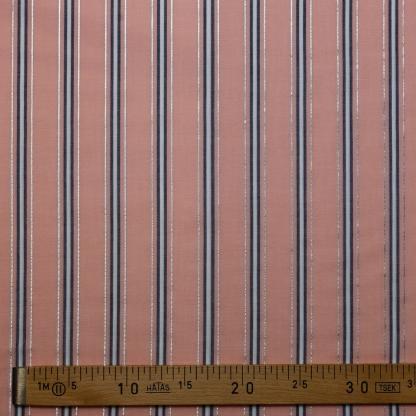 Sélection Coup de coudre - Tissu Voile de Coton à Rayures Lurex Argentés sur le Fond Rose Poudré