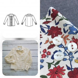Christine Charles – Kit Couture Chemise Adelise Couleur Bleu Marine et Fleuri