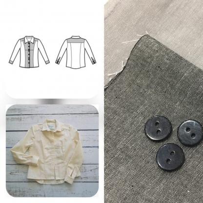 Christine Charles – Kit Couture Chemise Adelise Uni Couleur Gris Clair et Gris Anthracite