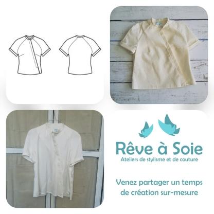 Christine Charles – Kit Couture Top Raglan Ismérie Uni Couleur Ivoire