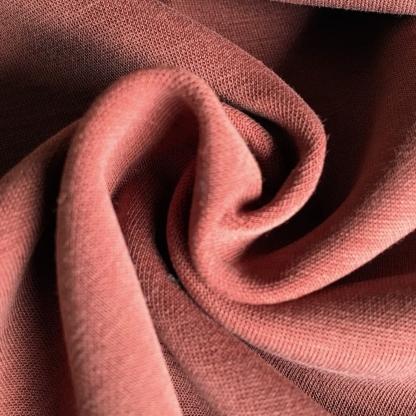 La Maison Victor - Tissu Jersey Interlock de Modal Mélangé Uni Couleur Tomette