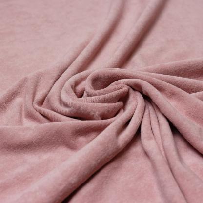 C. Pauli - Tissu Jersey Micro-éponge de Coton Bio Uni Couleur Vieux Rose
