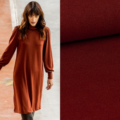 Fibre Mood – Tissu Jersey de Viscose Mélangé Uni Couleur Terracotta