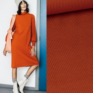 Fibre Mood - Tissu Jersey de Viscose Côtelé Uni Couleur Orange