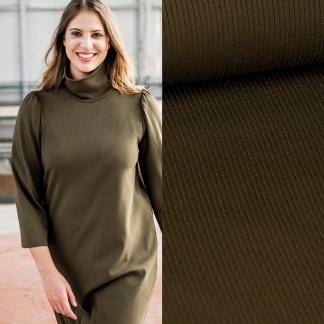 Fibre Mood - Tissu Jersey de Viscose Côtelé Uni Couleur Vert Kaki