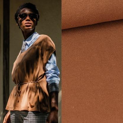 Fibre Mood - Tissu Jersey de Viscose Mélangé Uni Couleur Beige