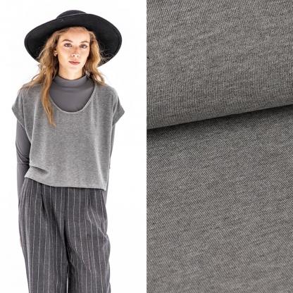 Fibre Mood - Tissu Jersey de Viscose Mélangé Uni Couleur Gris